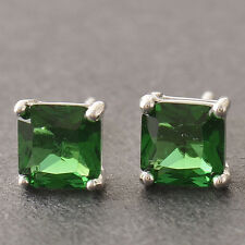 Square Silver/White Gold Filled 6MM Emerald Womens Stud Earrings