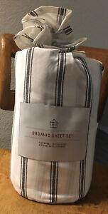 Hearth & Hand Full Size Sheet Set Tic Stripe Organic Cotton Sour Cream / Ebony