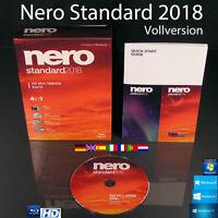 Nero 2018 Standard Vollversion Box + CD 4in1 HD Multimedia Brennsoftware OVP NEU