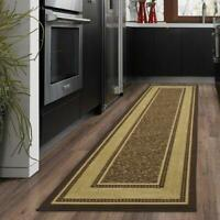 "20 x 59"" Modern Hall Runner Long Rug Rugs Hallway Area Carpet Non-Slip Mat Brown"