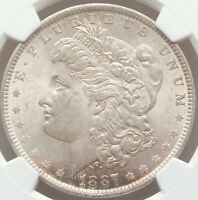 NEAR GEM QUALITY 1887 Morgan Silver Dollar PCGS Certified MS64