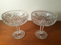 Pair Of Glass Compote Pressed Glass Vintage Pedistal Candy Dishes Fan & Diamond