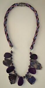 Purple Jasper & Faux Leather Braided Necklace Stainless Steel Magnetic Clasp