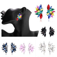 Fashion Crystal Women Leaf Colorful Bib Statement Mixed Stud Earrings Jewelry