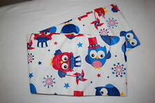 "Vinyl Like Tablecloth OWL FIREWORKS RED WHITE BLUE Rectangle 52 x 70"" SEATS 4-6"