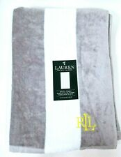 "NEW RALPH LAUREN WHITE+GRAY STRIPED,YELLOW LOGO,COTTON BATH,BEACH TOWEL 35""x 66"""