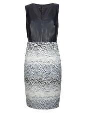 M&S AUTOGRAPH Leather Mix Fabric Panelled Chevron Bodycon Dress Size UK12/EUR40