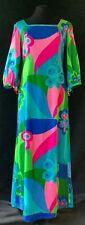 Vtg 60s 70s Vivid Psychedelic hippy trippy Hawaiian barkcloth mod maxi dress M/L