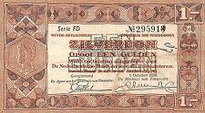 Netherlands 1 zilverbon 1938 Pick 61 Fine , FD 295913