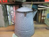 COFFEE POT BOILER GRANITEWARE SWIRL LARGE GRAY ENAMELWARE ANTIQUE COWBOY CAMP