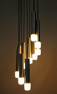 Tube Design Chandelier 60s 70s Kaskaden Spiral Röhren Lampe 60er 70er Lamp Light