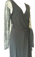 Elegant and Classic Coast Black And Lace Wrap Special Occasion Dress -  Size 8