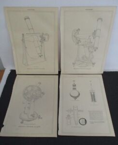 Lot of 4 Antique Astronomy Prints, Astronomical Instruments Ca. 1860-1870