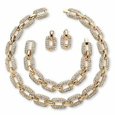 Crystal Gold Tone Link Necklace, Bracelet and Earrings Set