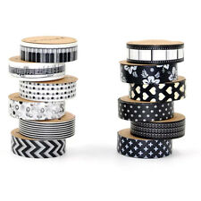 12pc Washi Tape Black and White Decorative Paper Sticky Adhesive Sticker DIY