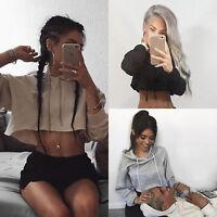 Women Hoodie Sweatshirt Jumper Sweater Crop Top Casual Sports Pullover Hoodied