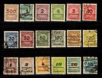 Germany stamps #280 - 299, mint & used, complete set, 1923, SCV $57.50