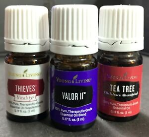 Thieves Vitality 5ml.  Valor II 5ml. Tea Tree 5ml. 3 Young Living Essential Oils