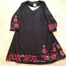 R&B Collection Women 1XL Top Tunic Blouse Dress Black with Floral Trim NWT