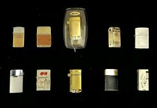 Vintage Lighters Lot Of 11 Untested- 1 W/ Original Box & Paper + Extra ? Box