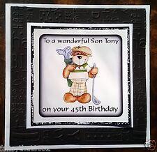 Tarjeta de cumpleaños para hombre hecho a mano personalizado cualquier edad Golfista Golf hijo marido abuelo