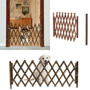 Expandable Pet Wooden Gate Protection Adjustable Folding Dog Fence Door