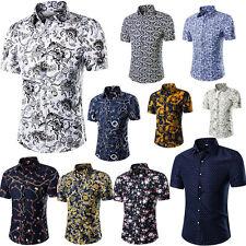 Herren Hemd Figurbetont Slim Fit Kurzarm Top Oberteil Blumen Printed Shirt M-5XL
