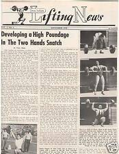 IronMan Lifting News Weightlifting Muscle Develope 2 Hand Snatch Sept 1956, 9-56