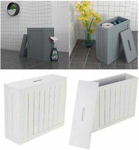 Wooden Slimline Shaker Caddy Multi purpose Bathroom Toilet Roll Storage Unit Box