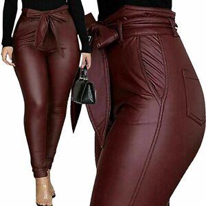 Luxussize - Damen Hose Lederoptik - Bindegürtel, hohe Taille - Weinrot - 46