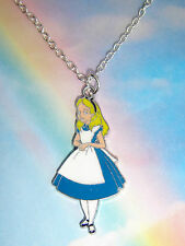 ALICE IN WONDERLAND FIGURE PENDANT NECKLACE ENAMEL SILVER CHAIN IN GIFT BAG