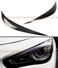 FOR 2014-2020 INFINITI Q50 S CARBON FIBER HEADLIGHT EYE LID COVER PAIR EYEBROWS