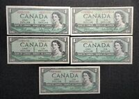 Canada 1954 5 Different$1.00 Replacement Asterisk Banknote Set Lot
