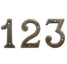"""3"""" Door / House Numbers in Hand beaten Wrought Iron Rust Resistant Pewter Finish"""