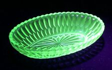 Vintage Green Uranium Oval Glass Bowl 21cm