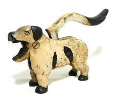 LATE 19TH-EARLY 20TH C ANTIQUE CAST IRON DALMATIAN DOG NUT CRACKER, W/ORIG PAINT