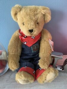 "Vermont Teddy Bear With Tags Blue Jean Overalls Jointed 16"" EUC"