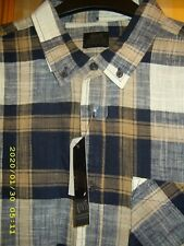 NEW ACW 85 💕 MENS BLUE CHECK LONG SLEEVE SLIM FIT SHIRT - SIZE L