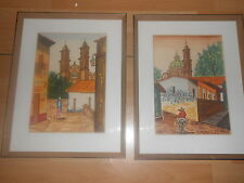2 Mid Century Modern Taxco Mexico Water Color Painting Citiscape Cathedral Frame