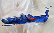 ❀  Paradiesvogel Blau Pfau Vogel Echte Federn mit Clip Federvogel 27cm #136A