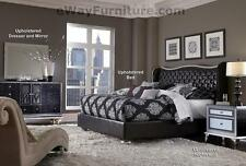 AICO Starry Night King Tufted Black Leather & Crystal Bed Bedroom Set Furniture
