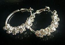 XMAS new Jewelry Fashion 3CM Flower clear Crystal Hoop silver Rhinestone Earring