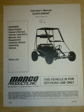 Manco Model 475-11 475-112 Go Kart Parts List Operators Manual Cart