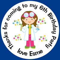 PERSONALISED SCIENCE GIRL BIRTHDAY PARTY BAG LABELS GLOSS SWEET CONE STICKERS