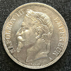1867 SILVER COIN 5 FRANCS FRANCE NAPOLEON III - AU