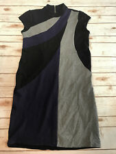 Travelers Collection By Chico's Size 1.5 Color Block Ponte Knit Dress Black Gray