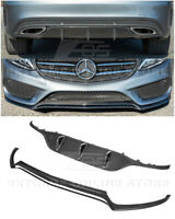 For 15-18 W205 C-Class AMG Sport CARBON FIBER Front Lip Splitter & Rear Diffuser