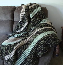 Camouflage, Beige & Frosty Green Full-Size Afghan / Blanket - Comfy and Warm!