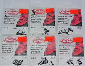 Six 5-Packs Size 12 Berkley 30lb Black Cross-Lok Snap Swivels, P12XSB