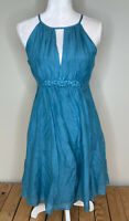 Esley ModCloth Anthropo Sleeveless knee length Silk dress size M In Blue J1